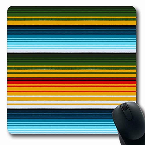 Luancrop Mousepads Folk Blue Streifen Mexican Ethnic Striped Abstract Green Serape Muster Poncho Woven American Design rutschfeste Gaming-Mausunterlage Rubber Oblong Mat Design Poncho