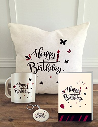 ALDIVO Happy Birthday Printed Cushion Cover with Filler with Coffee Mug, Greeting Card and Key Ring