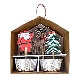 Weihnachten Cupcake Set - Muffinförmchen in Silber und Dekopicker von Meri Meri