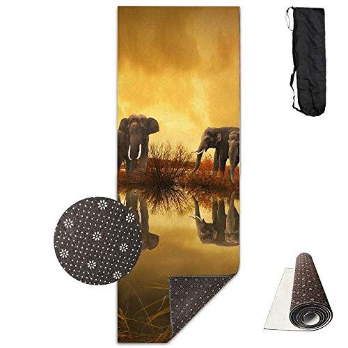 Vercxy - Esterilla de Yoga con diseño de Elefantes tailandeses - Forro...