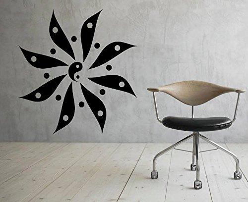 jiuyaomai Yin Yang Modernes Design Wandtattoo Chinesisches Zeichen Vinyl Wandaufkleber Wohnzimmer Removable Home Decor Kunstwand Interior Decals 57x57 cm