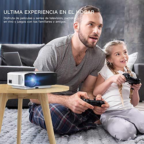 51N6OyxS2XL - Proyector APEMAN Mini Portátil Proyector de Cine en Casa 3800 Lúmenes Altavoces Duales Incorporados 50000 Horas Soporte HD 1080P HDMI/USB/VGA/AV/Micro SD (Incluye HDMI/AV/Cable de Alimentación)