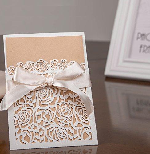 Hochzeit EinladungsKarten Hochzeitskarte Glückwunsch und Einladung, Edel, Elegant, Geschenk, Mitbringsel, Glückwunschkarten, Hochzeitskarten für Geburtstag Babyparty Kommunion Taufe Party, DIKETE® (EinladungsKarten set 6)