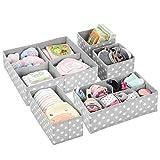 mDesign Juego de 5 cajas organizadoras para el cuarto de los niños – Cajas para almacenar artículos de bebé – Ideales como organizador de juguetes – Cajas con varios compartimentos – gris claro/blanco