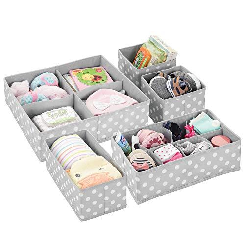 mDesign boîte de Rangement Tissu (Lot de 5) pour Chambre d'enfant - Panier de Rangement Tissu pour Accessoires de bébé et Couches - Rangement Jouet - Plusieurs Compartiments - Gris Clair/Blanc