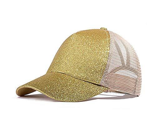 Gkmamrg Glitzer Mesh Cap Braun Pferdeschwanz Kappen Ineinander Greifen Fernlastfahrer Hut Basecap, Verstellbar für Erwachsene und Kinder (Gold)
