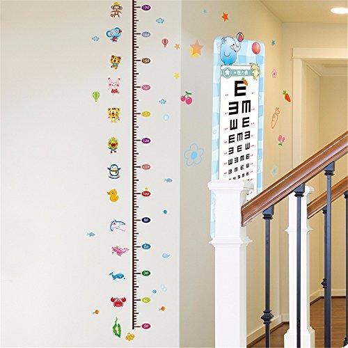 Bomeautify Wandtattoos Wandbilder Papier Aufkleber Cartoon Kinderzimmer Höhe Messung Höhe Höhe Kinderzimmer Wand Dekoration Vision Chart, 60 * 90 CM -