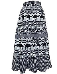 Chanchal Women's Cotton Skirt (Black & White_Free Size)