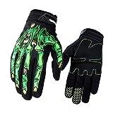 Surenhap Motorrad Handschuhe, Skeleton Zombie Knochen Design Winddicht Warme Fahrradhandschuhe Winterhandschuhe Kälteschutz für Herren Damen Motorräder Camping Outdoor (L - Grün)