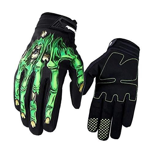 AimdonR - Guantes de Motocross Unisex con diseño de Esqueleto, para Ciclismo, Moto, Escalada, Senderismo, Color Verde, tamaño Medium