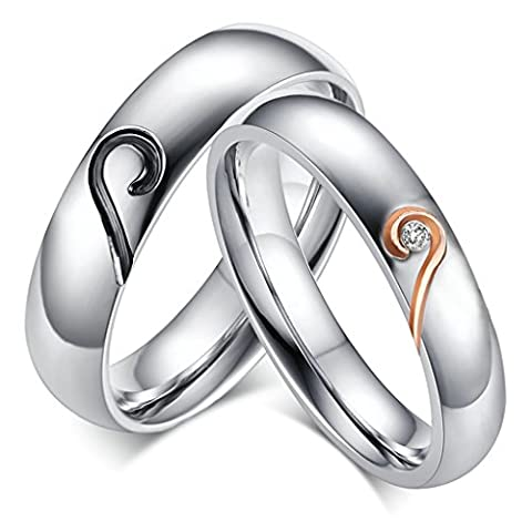 Bishilin 2Pcs Set Stainless Steel Promise Ring Heart For Women And Men Women Size R 1/2 & Men Size V 1/2