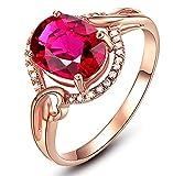 AmDxD Bijoux Bague de Promettre Femme 1.4ct Ovale Creux Rouge Tourmaline Bague Or Rose Taille 61.5