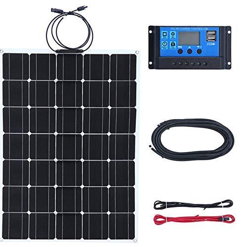 Kitechildhrrd Solaranlage Solar Inselanlage Komplett Solar Bausatz für Wohnmobil Camping 150W 12V Mono Solarpanel Solarmodul Solarzelle Mit 30A-Ladegerät (1 x 150W)