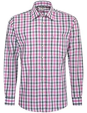 Almsach Trachtenhemd Simon Regular Fit Mehrfarbig in Pink und Dunkelgrün Inklusive Volksfestfinder