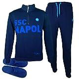 ssc napoli Tuta Felpata - Mezza Zip - Bambino Homewear (9-10 Anni, Blu)