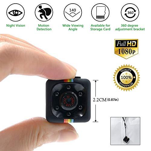 Mini kamera Spycam Full HD 1080p | Überwachungskamera Nanny Cam mit Bewegungserkennung und Infrarot Nachtsicht | Die kompakteste Versteckte Kameras für Innen und Aussen