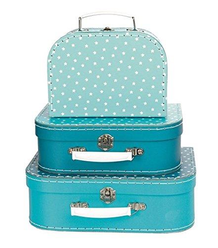 Set de 3 valisettes en carton bleu à étoiles blanches - Egmont Toys - 530132