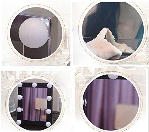 Schminkspiegel TOUCH Bildschirm mit 9Big-LED-Leuchtmittel Beleuchtete Spiegel Adjustbale Helligkeit - weiß - 7