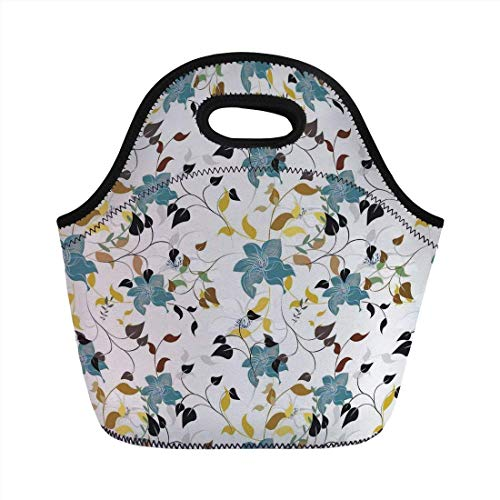 Portable Bento Lunch Bag,Leaves,Flowers Colorful Leaves Poison Ivy Contemporary Decorative Design,Black Brown Red Yellow Teal Cream,for Kids Adult Thermal Insulated Tote Bags (Hot Poison Ivy)