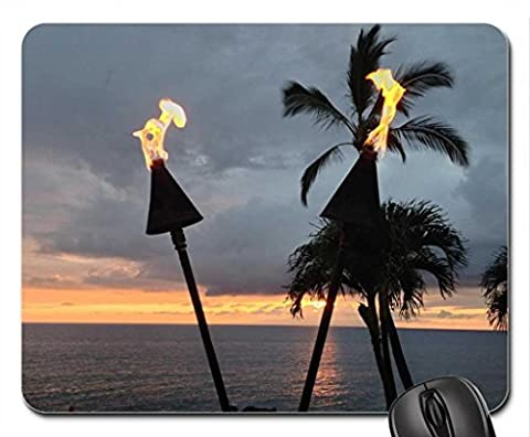 Hawaiian Tiki Torches evening dusk time at Waimea Maui Hawaii Mouse Pad, Mousepad (Beaches Mouse Pad)