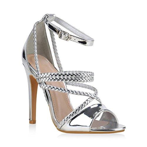 Damen Sandaletten High Heels Party Schuhe Stilettos Lack Metallic 138652 Silber Arriate 39 Flandell Metallic-stiletto Heel