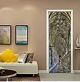 HHZDH 3D Faux Paysage Autocollant Mural en Bois Vue Porte Autocollant Décoration Kids Rooms Art Decor