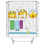 Duschvorhang, Anti-Schimmel Wasserdicht Badezimmer Vorhänge Modern Kunst Cartain für Haus Deko mit 12 Kunststoffringen zum Aufhängen (180 x 180 cm, Emoji)