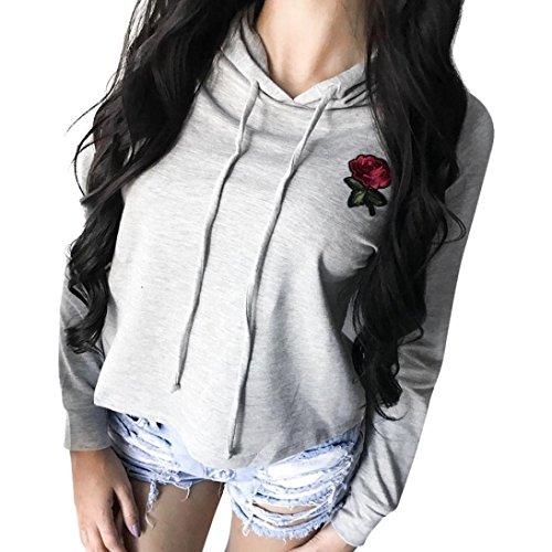 Damen Langarm Kapuzenpullis, TUDUZ Frauen Herbs Rose Applique Stickerei Hoodies Sweatshirt Pullover Tops Bluse Stickerei Kapuzen T-shirt (Grau, S) (Calvin Klein-crew-t-shirt)