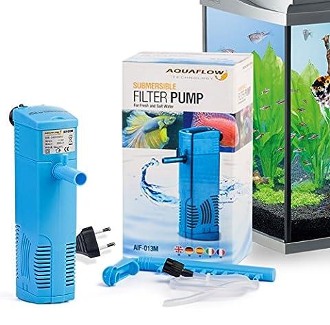 Aquaflow Technology® AIF-013M - Unterwasser-Aquariumsfilterpumpe für Frisch- und Salzwasser. Für Aquariumbehälter bis zu 50-100 Liters. 600 l/h