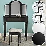 Coiffeuse Table de Maquillage | 80/40/136cm Blanc ou Noir 3 Miroirs et Tabouret | Meuble, Femme, Moderne (Noir)