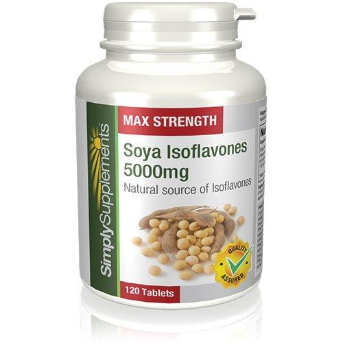 Isoflavonas de Soja 5000mg |Eficaz contra la menopausia | Proveen un fuerte contenido en isoflavonas |120 comprimidos |Simply Supplements