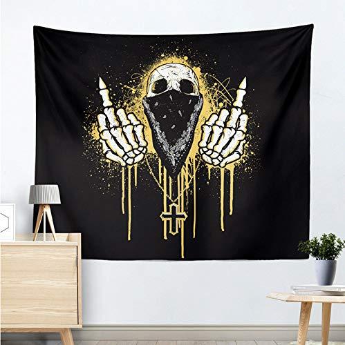 DDBBhome New Hippie Totenkopf Verachtung Gesten Bedruckt Tapisserie Wandbehang Punk-Stil Mandala Matte Decke Strandtuch Blume Gobelin 200X150Cm (Strandtuch Punk)