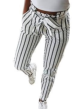 Nimpansa Mujeres Pantalones Pitillo Rayas del Casaul Bleted Bolsa Cintura  Tobillo 240e5dcf1eaf