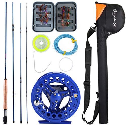 Sougayilang Angelrute mit Spule für Salzwasser und Süßwasserfliegenfischen, Set, C-Blue Kits with Bag