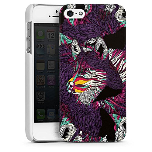 Apple iPhone 5 Housse étui coque protection Loup Husky Chien CasDur blanc