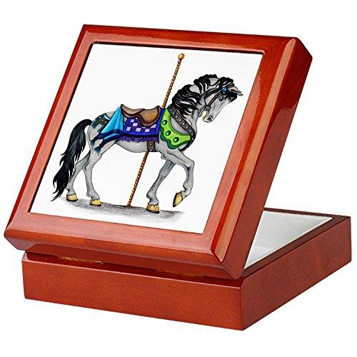 CafePress-Die Karussell Pferd-Keepsake Box, fertig Hartholz Jewelry Box, Samt Gefüttert Memento Box mahagoni -