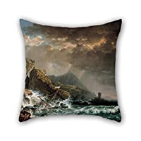 beautifulseason 20 X 20 Inches/50 By 50 Cm Oil Painting Carlo Bonavia - Shipwreck In A Rocky Inlet Pillowcase,twin Sides Is Fit For Teens Girls,birthday,living Room,car,shop,sofa