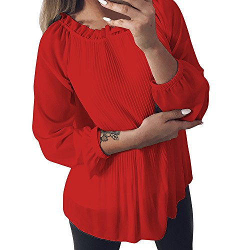 BHYDRY Women's Solid Chiffon Rüschen Langarm O-Neck Shirt Pullover Tops Bluse(EU-40/CN-M,Rot)