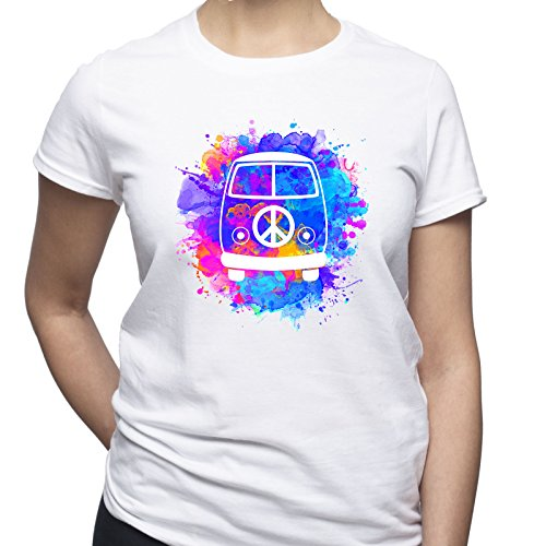 Hippie Van Peace Sign Camiseta para Mujer Blanco L