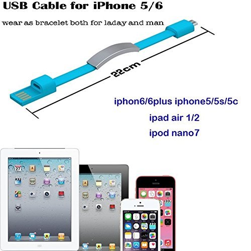 Braccialetto stile cavo USB Lightning cavo di ricarica per iPhone 6+/6/5s/5, iPad Mini, iPod Touch 5, Nano 7, alta qualità, 0,2m, Flat Style White