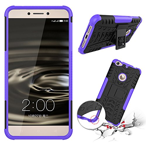 Qiaogle Telefon Case - Shockproof TPU + PC Hybrid Ständer Schutzhülle Case für Letv 1S/ LeTV X500/ LeTV LE1S/ Le 1S Helio X10 Turbo (5.5 Zoll) - HH12 / Schwarz & Lila