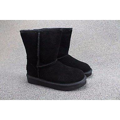 Stivali da donna Comfort PU Suede Primavera Inverno Casual Giallo Nero Cioccolato Flat Black