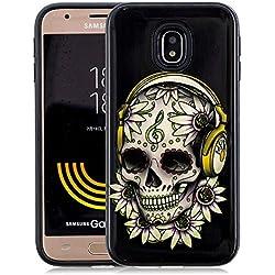 Coque Samsung Galaxy J7 2017 Antichoc [2 en 1: Interne Souple Silicone TPU + Externe Dur Plastiques], Protection Housse Mince Léger Flexible Lisse Anti Rayure, Crâne