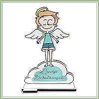 Schutzengel mit Namen für Kinder | Junge | Schutzengelfigur aus Holz | personalisiert | Geschenk zur Einschulung, Taufe, Geburt (mint)