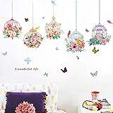Stickers muraux Jardin Cage À Oiseaux Chambre Fond Mur Floral Study Hall Couloir Décoration Autocollant Papier Peint Autocollant 78 * 120 cm