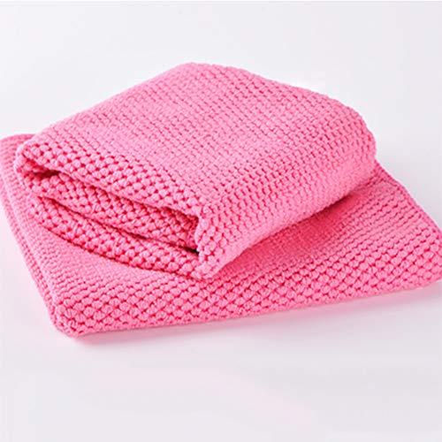 Malla absorbente Trapos de limpieza, Espesa la capa doble Toalla de limpieza Secado rápido Suave Paños para desempolvar Bayeta Para antiadherente sartenes ollas utensilios -Rose Rot 35x35cm(14x14inch)