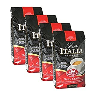 SAQUELLA Espresso Bar Italia Gran Crema, 1000g 4er Pack
