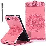 Sony Xperia Z5 Compact Hülle Pink,Slynmax Blumen Flip Hülle Schutzhülle für Sony Xperia Z5 Compact Tasche Wallet Case Leder Klapphülle Lederhülle Handyhülle Ständer Kartenfächer Magnetverschluss Shell