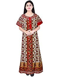 Mudrika Best Cotton Long 100% Cotton Nighty for Women & Ladies(Bust Size Upto 44 inche)