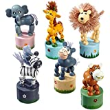 """Drücktiere """"Afrika"""", Drückfigurenset aus Holz, sechs verschiedene Tier-Holzfiguren auf je einem kleinen Holzpodest, 6er Set, Holzspielzeug ab 3 Jahre"""